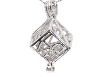 Cubic pearl cage pendant, 925 sterling silver love heart pendant, love pearl cage charm, cube cage, wish pearl cage jewelry, F3135-P