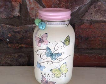Beautiful Butterfly Mason Jar, Storage, Memory Jar,  Shabby chic