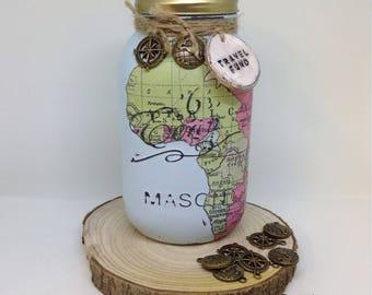 Travel Hoilday Vacation  Fund Mason Jar, savings jar, money bank, piggy bank, Shabby chic,