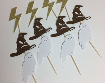 Harry Potter Cupcake Toppers ~ Sorting hat ~ lightning bolt ~ Hedwig ~ party ~ birthday ~ shower ~ muggle ~ HP ~ Harry Potter