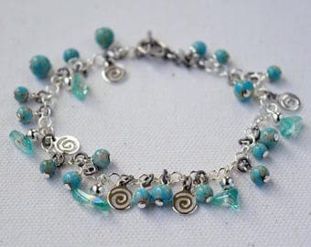 Turquoise and Silver Bracelet, Turquoise and Silver Chain Bracelet, Turquoise Bead, Turquoise and Silver Dangles, Turquoise and Silver Chain