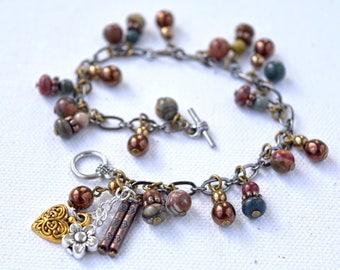 Jasper Bracelet, Fire Polished Glass Beads, Jasper Bead Bracelet, Red Creek Jasper, Jasper and Charm Bracelet, Czech Fire Polished Glass