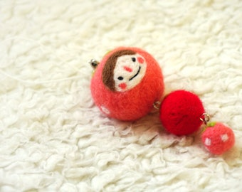 Wool Needle Felted Keychain - Strawberry Girl