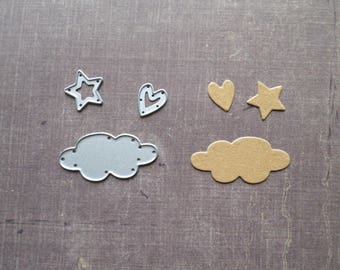 Cloud heart and star shaped Sizzix die