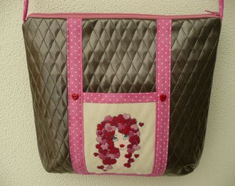 shoulder bag / / faux leather taupe and pink / / lolita / / kawaii / / embroidery