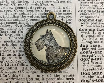 Handmade Vintage Dictionary Dog Necklace - Scottish Terrier
