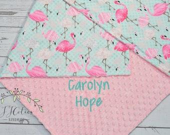 Personalized baby blanket Flamingo-Minky baby blanket flamingo-Personalized Flamingo baby blanket-Flamingo crib sheets-Flamingo nursery