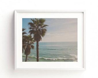palm tree print, tropical photograph, summer print, beach download, ocean printable, nautical decor, beach photo, blue, coastal wall art