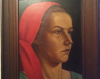 1948 Original Painting German Woman FOLK ART W Giarig Deimen Schwizegereltern