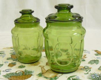Vintage L E Smith Green Glass Canister Jar, Matching Lid, Apothecary, Candy Storage, Kitchen, Display Storage, Bathroom Storage