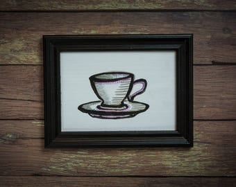 Teacup and Saucer in a Reclaimed, Black, Wood Frame (Original)