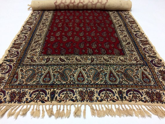 "Hand printed 78"" inches Red Table Runner- traditional block printed natural dyes cotton Fabric with tassels"