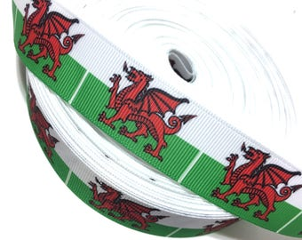 """1"""" Red Dragon Ribbon, Dragon Grosgrain Ribbon"""
