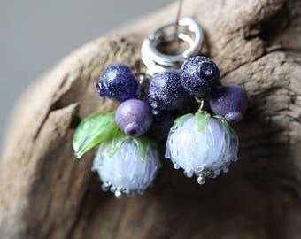 Berry glass earrings - Lampwork blueberry and light blue flower glass beads