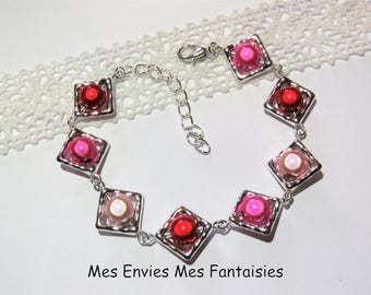 Pearls Bracelet kit 1 magical / square beads frame Silver Pink / Fuschia / Red