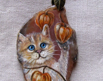 Painting on a cut of agate,   a cat,   slice of agate,  natural stone,  miniatu,     painting,  winter, snow, landscape,  physalis