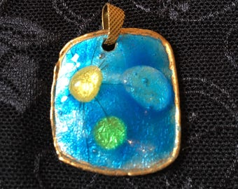 Pretty enamelled, gilded and blue copper medallion signed Perrère years 50/60