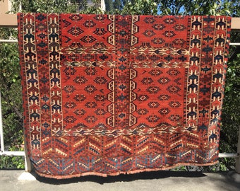 Antique Turkmen Tribal Rug / Southwestern Rug / Aztec Rug / Brick Red Rug / Native American Rug / Turkoman Rug / Terra Cotta Rug / Tekke Rug
