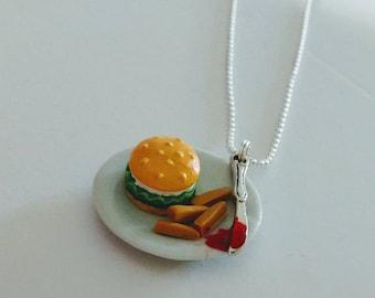 Burger fries necklace