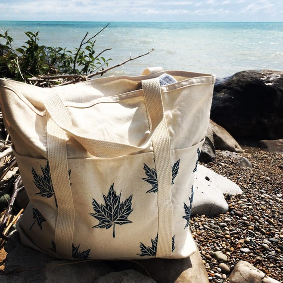 XL ORGANIC canvas beach bag, market, yoga, diapers, or as a carry on!  Hand printed, SEVEN pockets, one of a kind!