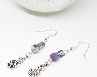Amethyst sage chevron And Celtic Double Circle of life earrings