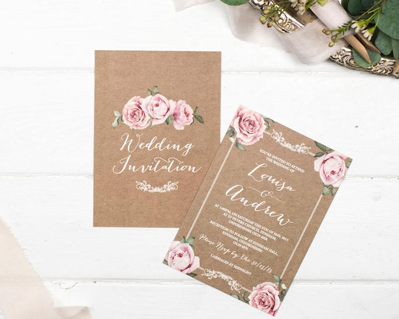 Rustic Wedding Invitation and Rsvp Postcard Set