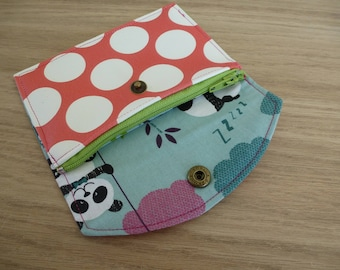 wallet pink faux leather has white dots