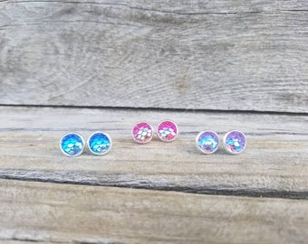 Tiny mermaid scale earrings