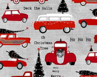 Red Cars Allover on Gray Cotton Fabric from the Around Town Collection by Studio e Fabrics