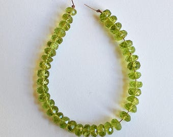 Natural Peridot Faceted Rondelle 6mm Loose Beads, August Birthstone, Natural Peridot Beads, Semi precious Gemstone Beads, Wholesale Bead