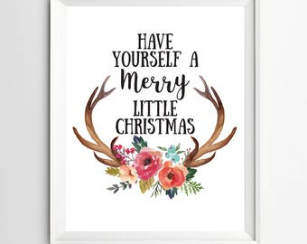 Merry little Christmas print decor Holiday printable decoration wall art party digital winter holiday Christmas quote poster