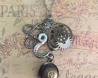 Steampunk Brass Derby Hat Necklace Steampunk Gear Jewelry  Steampunk Octopus Jewelry  Steampunk Octopus Hex Nut Necklace