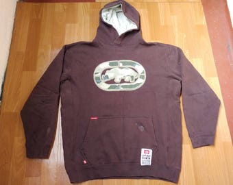 ECKO UNLTD hoodie, brown vintage hip hop sweatshirt, old school sweat shirt 90s hip-hop clothing, 1990s, og, gangsta rap, size M Medium