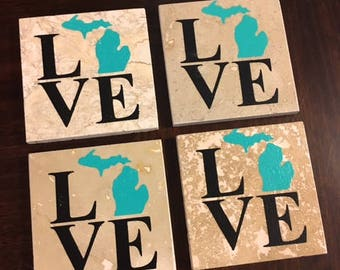 Michigan Love Coasters Set of 4 Teal and Black