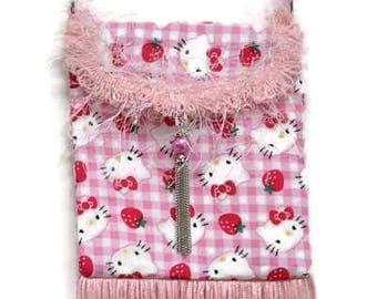 child shoulder bag, Hello Kitty bag, child fringe bag, child cell phone bag, child tassel bag, kids bag, kids pink bag, kids fringed bag