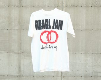 """1992 Pearl Jam """"Never Give Up"""" Vintage T Shirt"""
