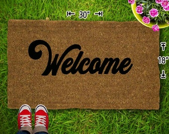 Welcome Coir Doormat - 18x30 - Welcome Mat - House Warming - Mud Room - Gift - Custom