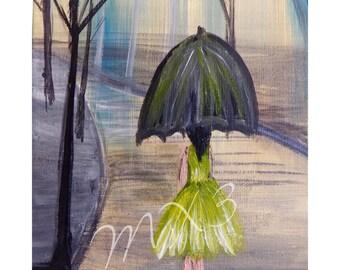 Umbrella Print, Walking in the Rain, Park Print, Female in Rain, Black Umbrella Print, Gift for Her, Womans Bedroom Decor, Mothers Day Gift