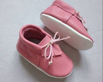 girl moccasins pink leather baby shoes soft sole
