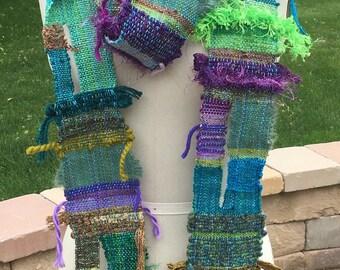 Saori handwoven skinny scarf