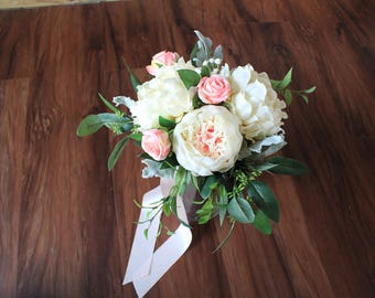 bridesmaids wedding garden bouquet with peonies in blush and ivory acents of garden roses in