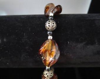 caramel twist Lampwork bracelet with murano twistees and onyx beads