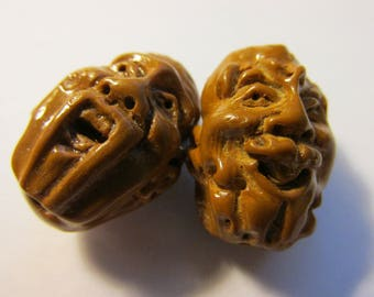 """Chinese Arhat Lohan Wise Monk Beads, 3/4"""", Set of 2 Assorted"""