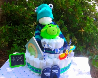 Leap for Joy its a Boy! Diaper Cake Baby Shower Gift for Mother to be