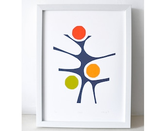 Dance - An original screen print, modern abstract print, bright primary colours