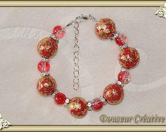 Red bracelet gold gilded beads 101021
