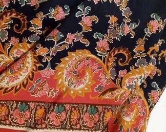 Large Viscose Boho Bandana Folkloric Border Floral Scarf