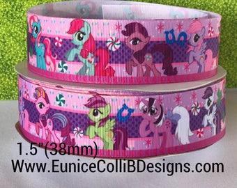 """1.5""""  Little pony inspired grosgrain ribbon"""