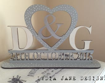 Freestanding Wooden Personalised Initial Plaque Wedding Engagement Anniversary gift gifts