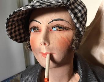 REDUCED !!!!!!Super Rare Smoker doll  French Boudoir MAN  Gavroche ' cap .POUPÉE de salon
